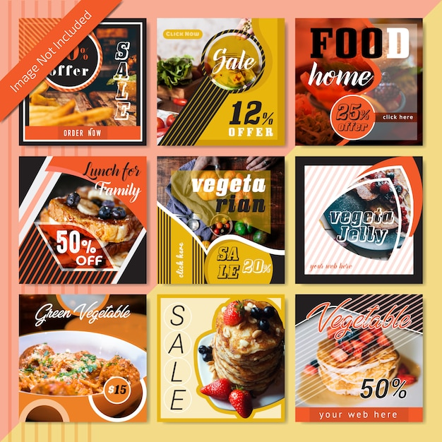 Food social media post template for restaurant Premium Vector