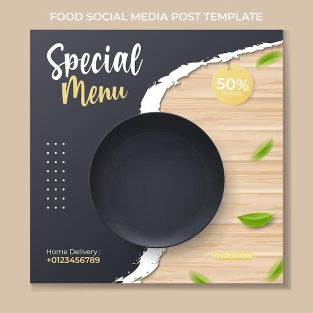 Шаблон сообщения в социальных сетях food с реалистичной черной тарелкой Premium векторы