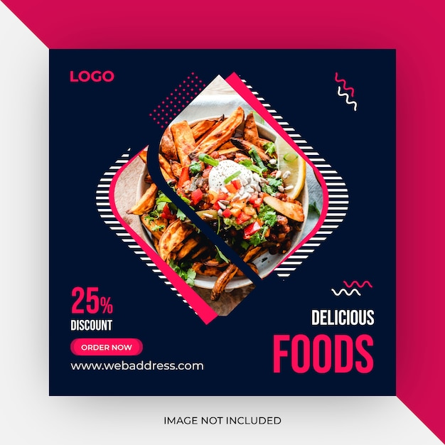 Food social media post template Premium Vector