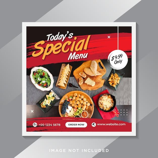 食品ソーシャルメディアのプロモーションとinstagramのバナー投稿のデザイン Premiumベクター