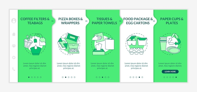 Food-spoiled paper-based waste onboarding  template. teabags, wrappers. paper towels. food package. responsive mobile website with icons. webpage walkthrough step screens. rgb color concept Premium Vector