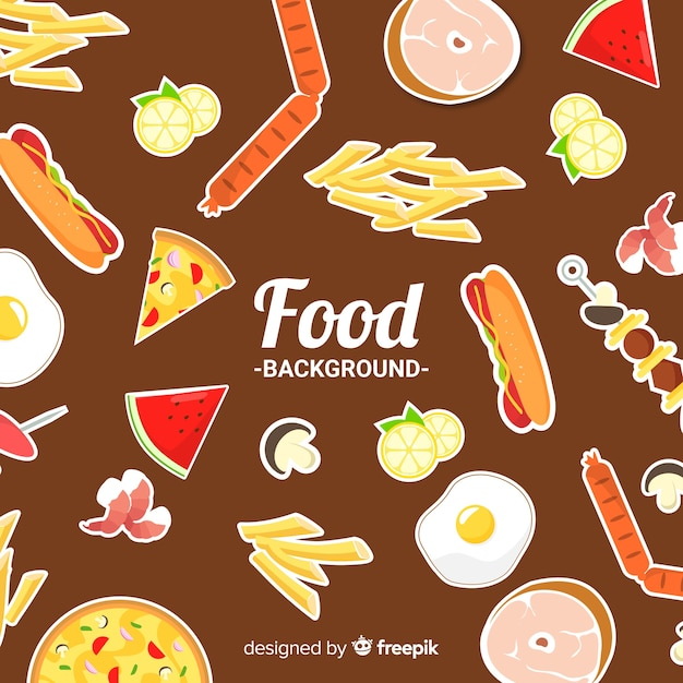 Food stickers background Free Vector