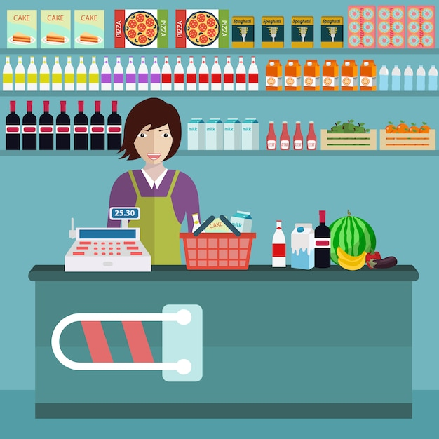 Food store background design Free Vector