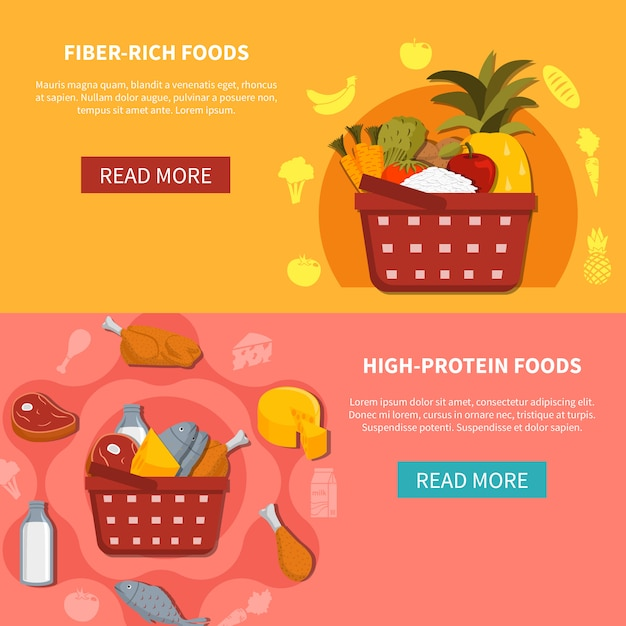 Food supermarket horizontal banners Free Vector