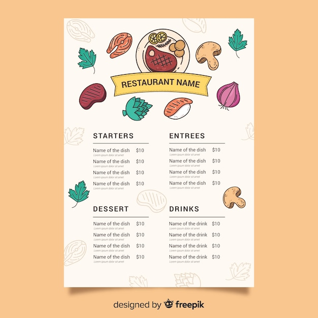 Food template with variety of ingredients Free Vector