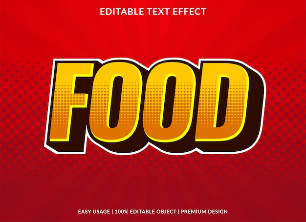 Food text effect with retro bold style Premium Vector