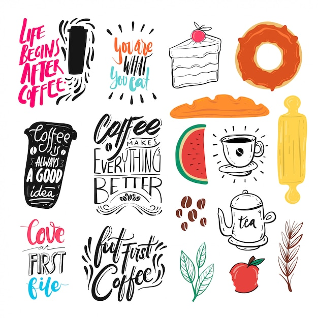 Food theme and quote collection Premium Vector
