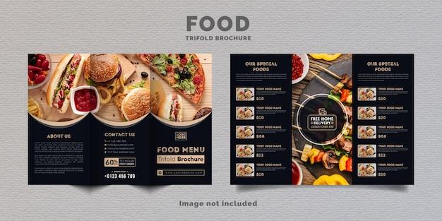 食品3つ折りパンフレットメニューテンプレート。濃い青色のレストランのファーストフードメニューパンフレット。 Premiumベクター