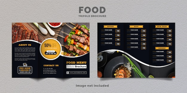 食品3つ折りパンフレットメニューテンプレート。黄色と濃い青色のレストランのファーストフードメニューパンフレット。 Premiumベクター