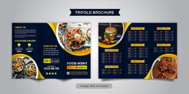 食品三つ折りパンフレットメニューテンプレート。黄色と紺色のレストランのファーストフードメニューのパンフレット。 Premiumベクター