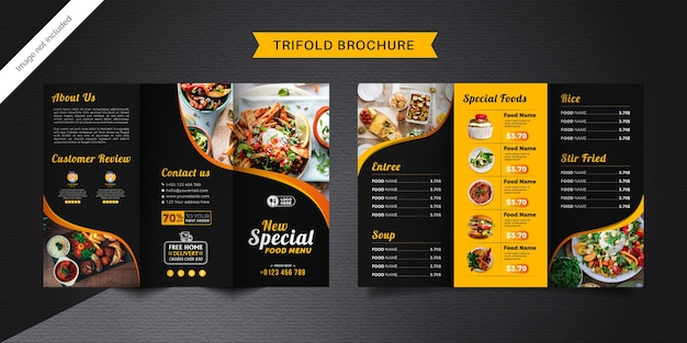 Food trifold brochure template. fast food menu brochure for restaurant with black and yellow color. Premium Vector