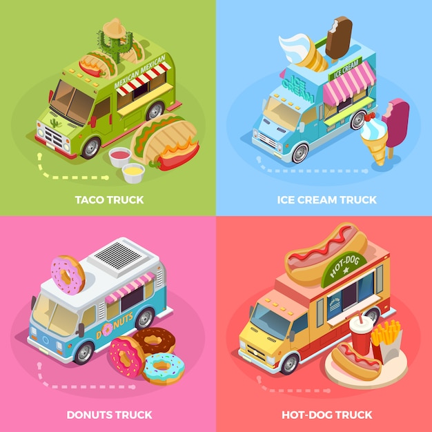 Food truck 4 isometric icons square Free Vector