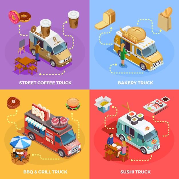 Food truck 4 изометрические иконки площадь Бесплатные векторы