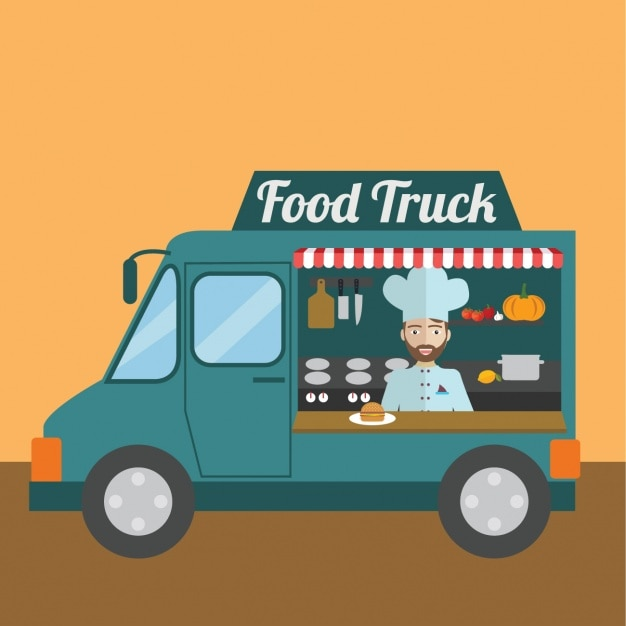 Food truck background design vector free download for Design food truck online