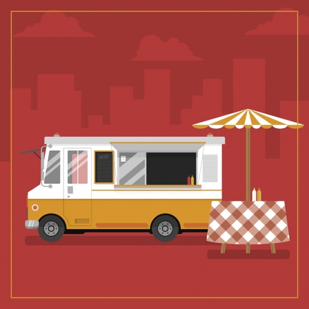 Food Truck Background Design Free Vector