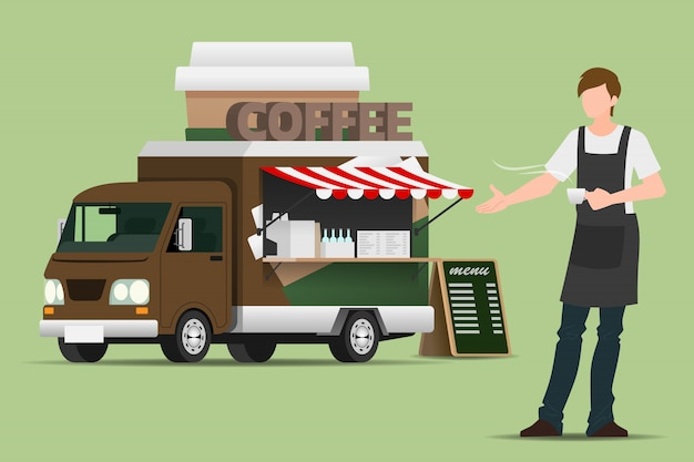 Food truck coffee. Premium Vector