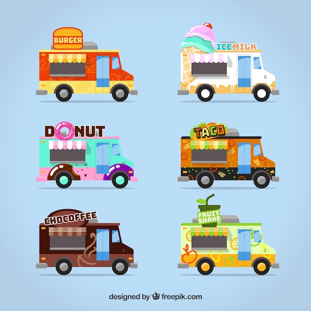 Food truck collection with colorful style