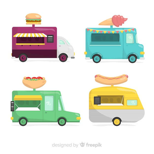 Food truck collection Free Vector