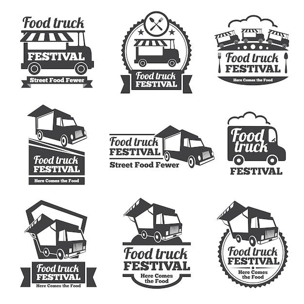Food truck festival emblems and logos vector set. festival street food, badge food festival, emblem food truck illustration Free Vector