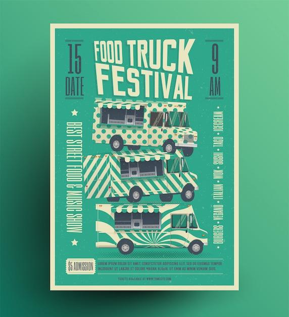 Фуд грузовик фестиваль плакат баннер листовка шаблон. винтажном стиле иллюстрации. Premium векторы