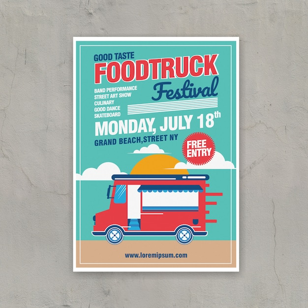 Food truck festival poster template Premium Vector
