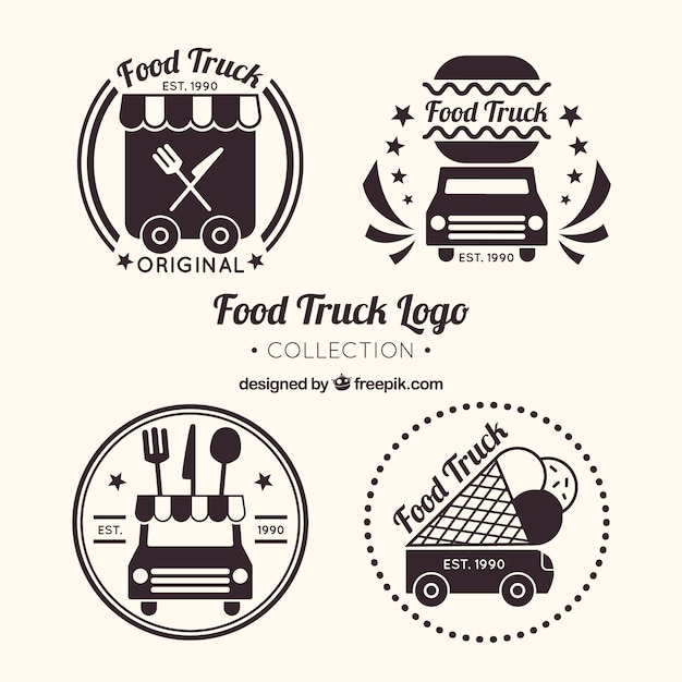 Food truck logo collection with classic style