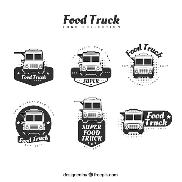 Food truck logo collection with professional\ style
