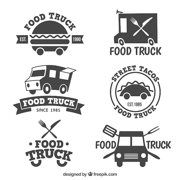 Food Truck Logo Collection Premium Vector