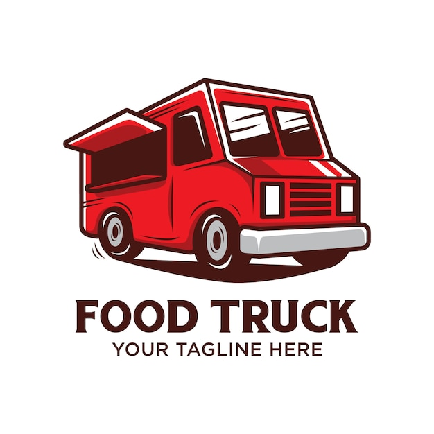 Food truck logo with red food truck vector illustration isolated Premium Vector