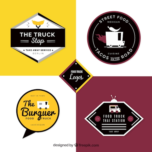 Food truck logos with modern style