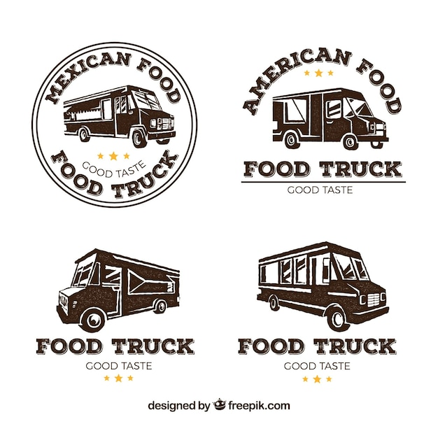 Food Truck Logos With Retro Style Free Vector