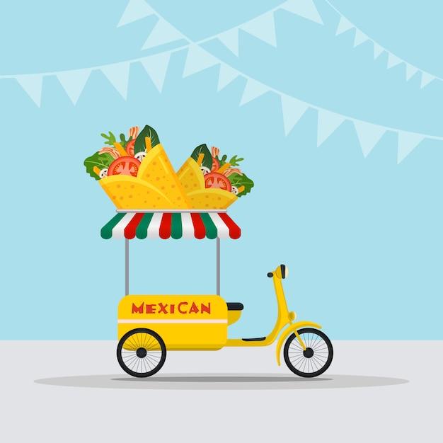 Логотип food truck для быстрой доставки блюд мексиканской кухни или летнего кулинарного фестиваля. Premium векторы