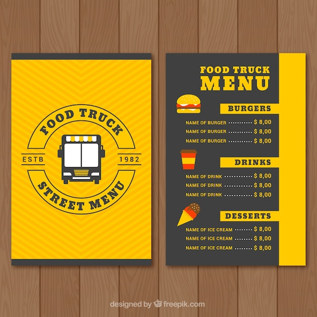 Food Truck Menu Design Free Vector