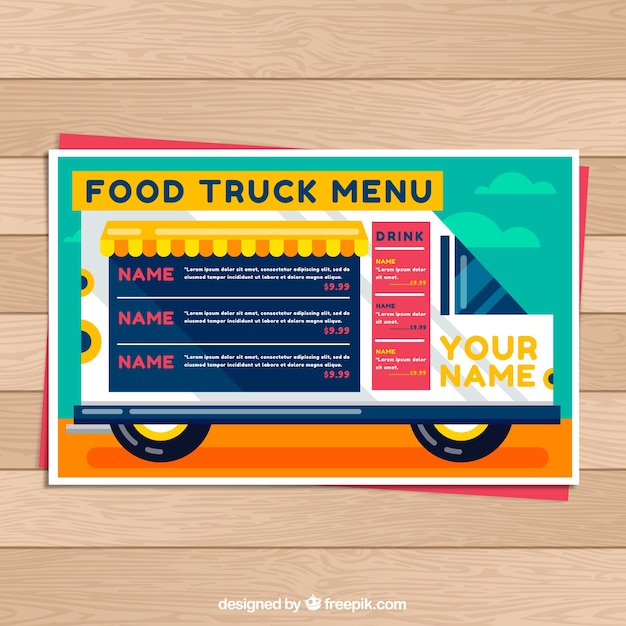 Food truck menu on the van