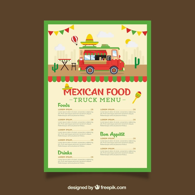Food truck menu template wit mexican\ food