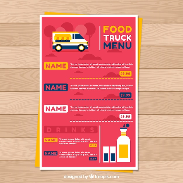 Food truck menu template with flat design