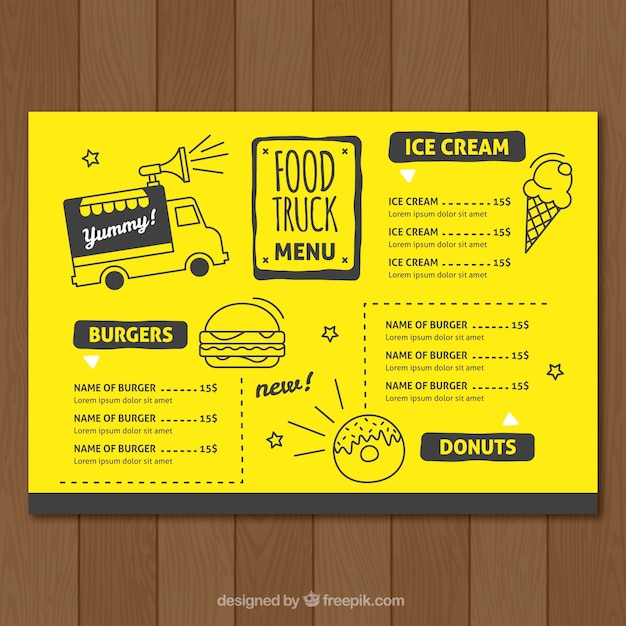 Food Truck Menu Template Free Vector