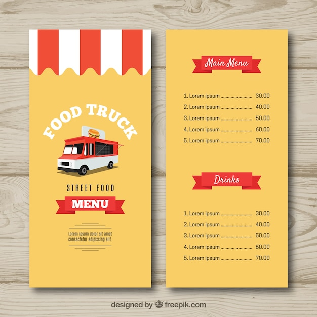 food truck menu template vector free download