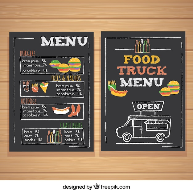 Food truck menu with burgers and hot dogs