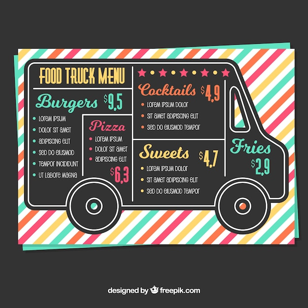 Food truck menu with colorful style