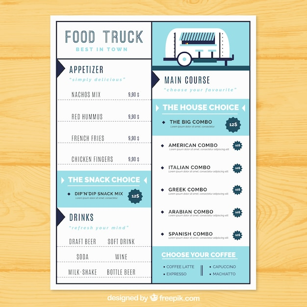 Food Truck Menu With Cute Style Vector Free Download