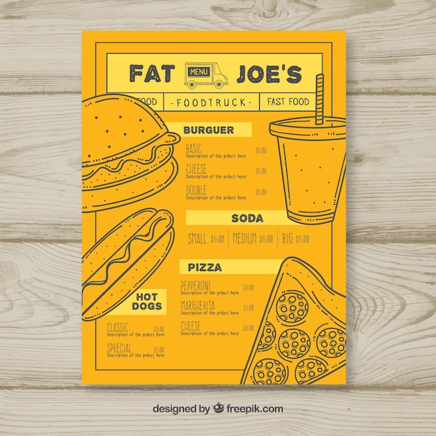 Food truck menu with hand drawn fast\ food