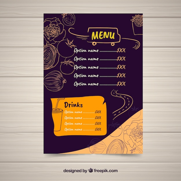 Food truck menu with hand drawn ingredients