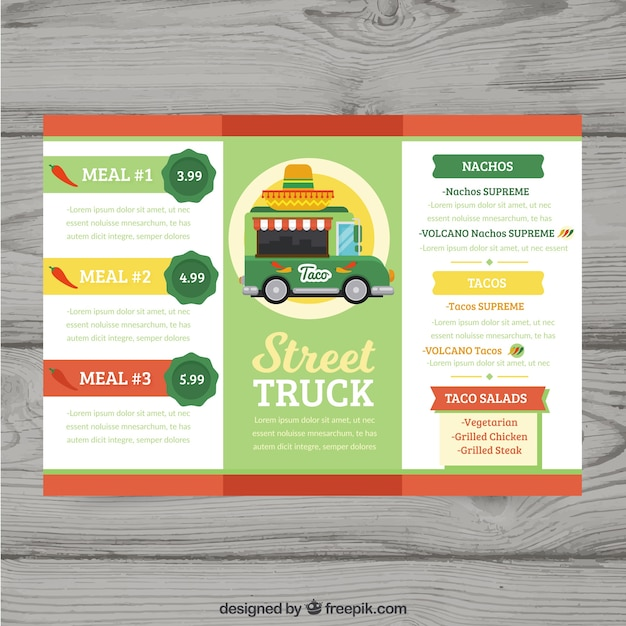 Food truck menu with mexican food