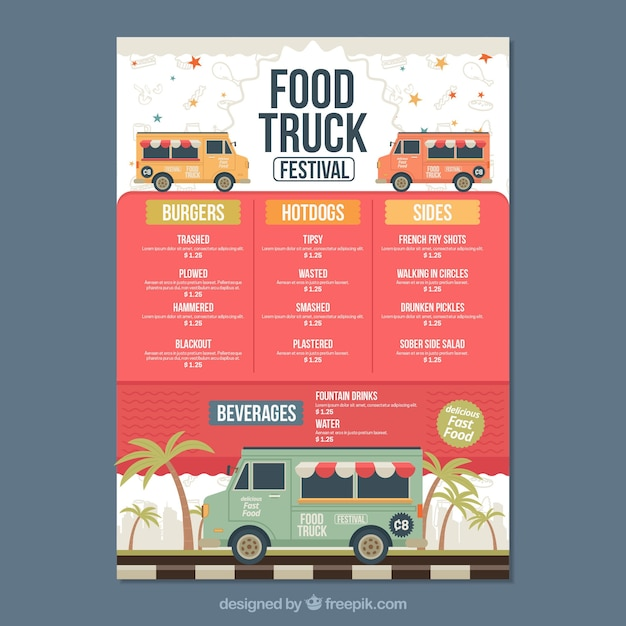 Food truck menu with palm trees