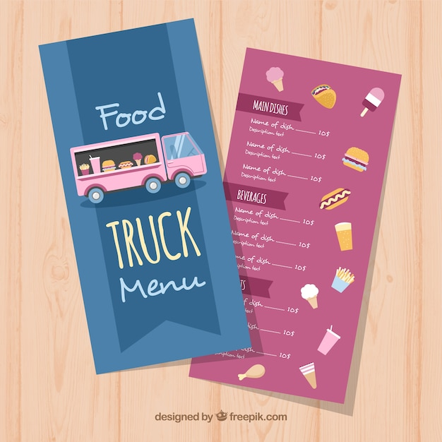 Food truck menu with variety of food