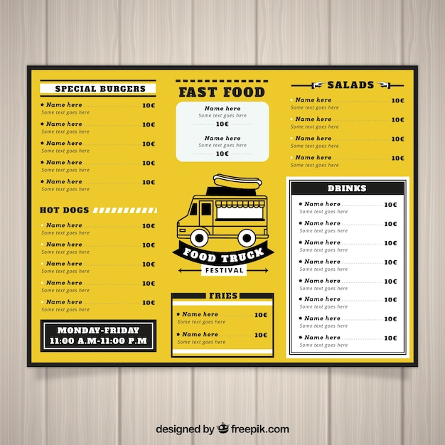 Food truck menu with vintage style