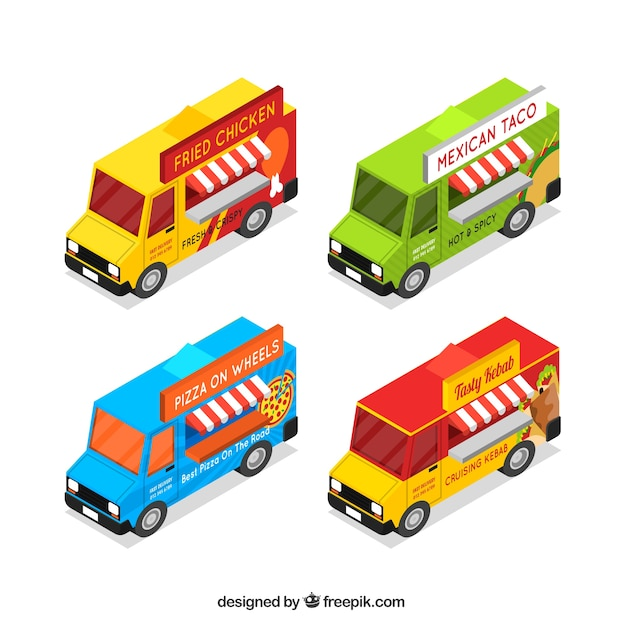 Food truck pack with isometric\ perspective