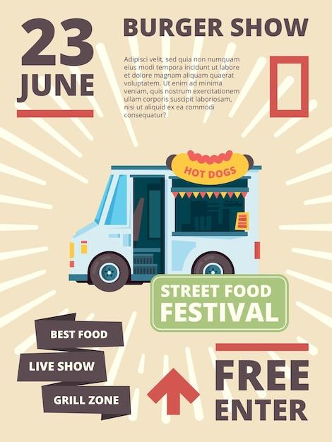 フードトラックのポスター。いとこのバーガーパーティーバナー付きの商品お祭り招待車の配達 Premiumベクター