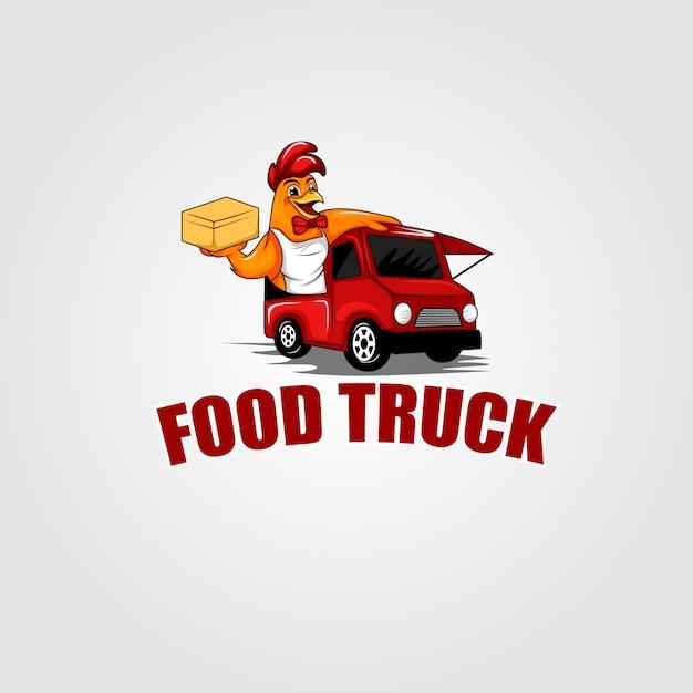 フードトラックのオンドリのロゴ Premiumベクター